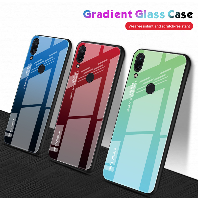 Tempered-Glass-Case Colorful Case Gradient Note-7 Xiaomi Redmi 5-Plus 6A Glossy For K20