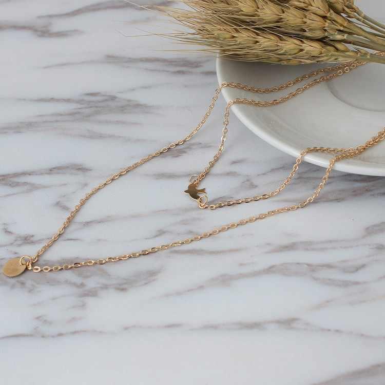 New đơn giản hoang dã Chim Bồ Câu Hòa Bình Đôi Vòng Cổ của Phụ Nữ kim loại xương đòn chuỗi hợp kim trang sức phụ kiện vòng cổ Cho Phụ Nữ