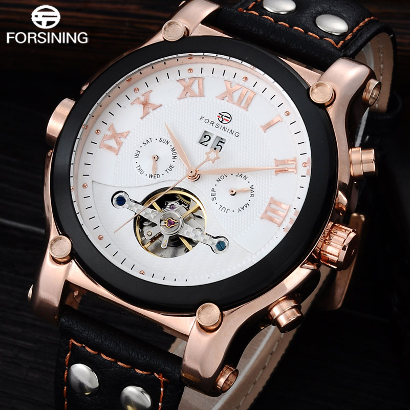 FORSINING Brand Luxry Mechanical Watch Men Leather Band Tourbillon Automatic Watches Auto-Calendar Sport Clock Relogio Masculino цена