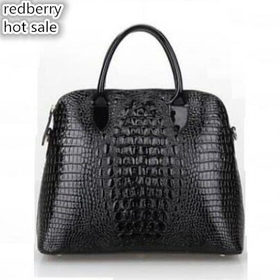 ФОТО Hot women messenger bag 2016 top handle bag crocodile grain shoulder bag fashion women tote vintage genuine leather handbag