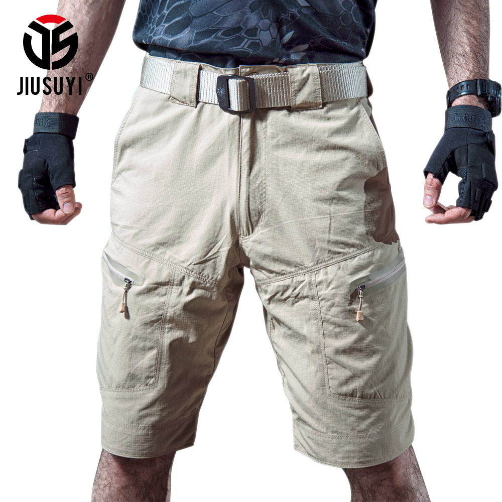 Summer Waterproof Tactical Cargo Shorts Men Army Military City Combat Cargo Shorts Mannen Rip stop Casual Multi Pocket Shorts