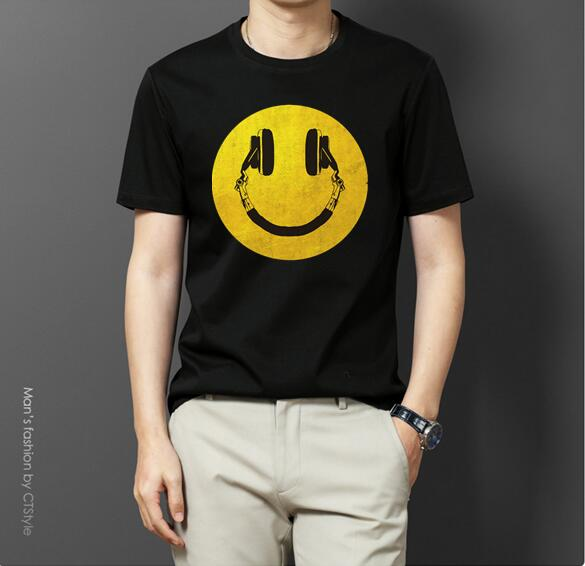 2019 Summer Men T Shirt Casual Large Size XS-2XL Loose Long-sleeved T-shirt Female Point Smiley Face O-neck T-shirt