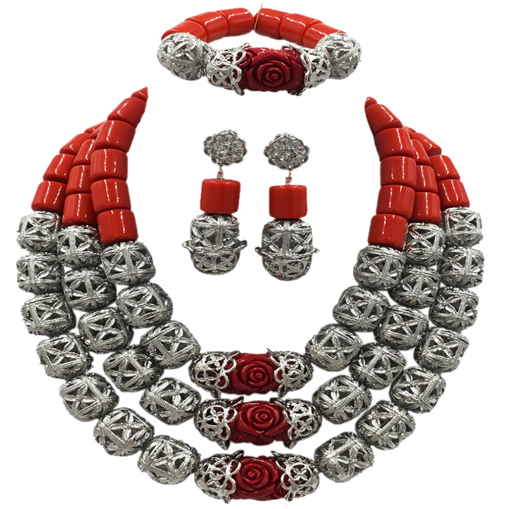 Fashion Orange Red Artificial Coral Necklace Nigerian Wedding African Beads Jewelry Set for Women ACB-06 latest yellow and gold beaded artificial coral nigerian wedding african beads jewelry set acb 11
