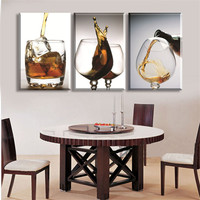 Cheap 3 Panels Modern Vintage Kitchen Wine Glass Wall Painting Flower Art Picture Paint On Canvas
