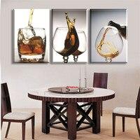 3 Painéis Cozinha Moderna de Vinho de Vidro Da Parede Da Lona Pictures Para Hogar Poster Home Decor Impresso Na Lona Barato e Artes presente