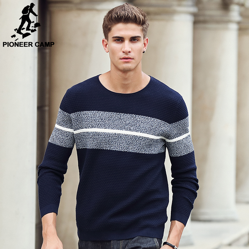 Image 2 - Pioneer Camp casual striped sweater men brand clothing Pullover  men fashion Designer sweaters for men 611201mens knitwearmens knitwear  fashiondesigner mens knitwear