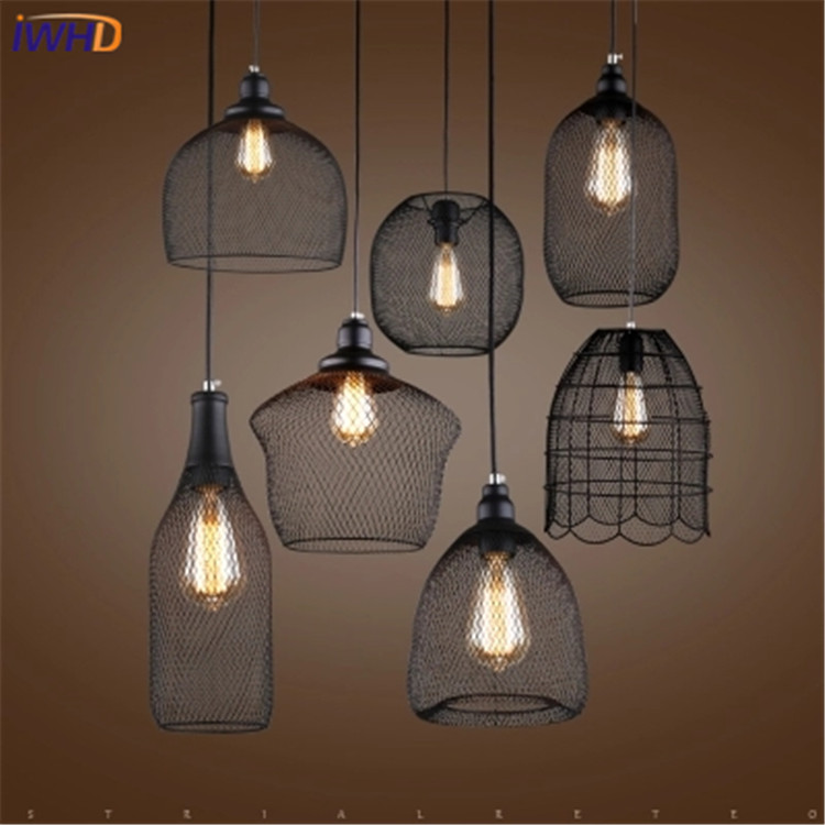 IWHD Loft Retro Led Pendant Lights Industrial Vintage Iron Hanging Lamp Stair Bar Light Fixture Home Lighting Hanglamp Lustre new loft vintage iron pendant light industrial lighting glass guard design bar cafe restaurant cage pendant lamp hanging lights
