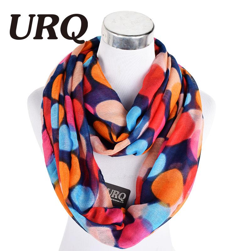 Mujer infinito bufandas de invierno cálido lunares mujeres bufanda del tubo bufandas bucle plomada V8A9567