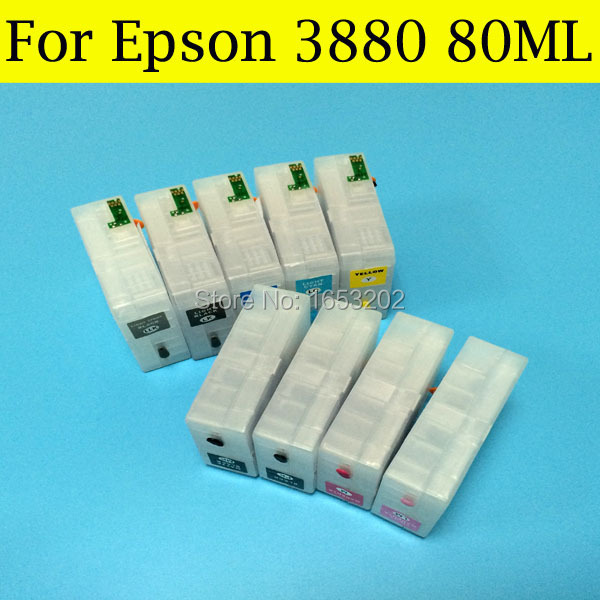 T580 Ink Cartridge T5801-T5809 580 Tinta For EPSON Stylus Pro 3880XL 3880 Printer Plotter Come With Chip Sensor hot with show ink level chip for epson stylus pro 7700 9700 ink cartridge for epson wide format printer