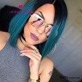 Ombre синий короткие полный шнурок человеческих волос парик перуанский фронта шнурка парик девственные волосы темные корни короткие ombre человеческих волос боб парики
