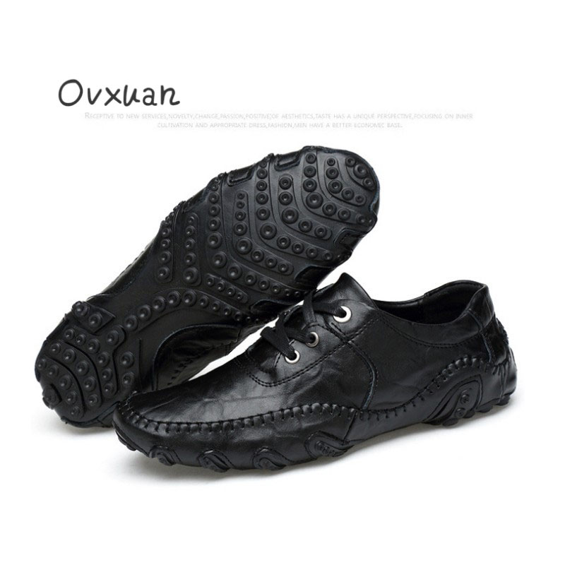 Ovxuan Male Flats Wedding & Party Men Oxfords Casual Dress Soft Shoes Loafers Moccasins Genuine Leather Italian Shoes for Men 48 women genuine leather shoes for mother loafers new casual oxfords plus size soft comfortable flats sapato feminino zapatos mujer