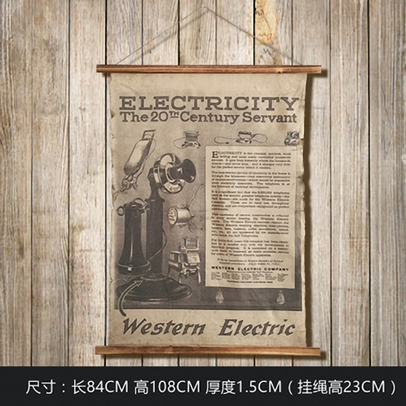 Large Retro Western Eectric Linen Cloth Painting Scrolls Poster Mural Paintings Banners Hanging Art Office Loft Ornament Wall
