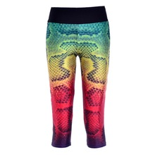 New 1029 Sexy Girl Women Colorful snake scale 3D Prints Workout stretch Fitness Elastic Cropped Trousers Leggings Pocket Pants