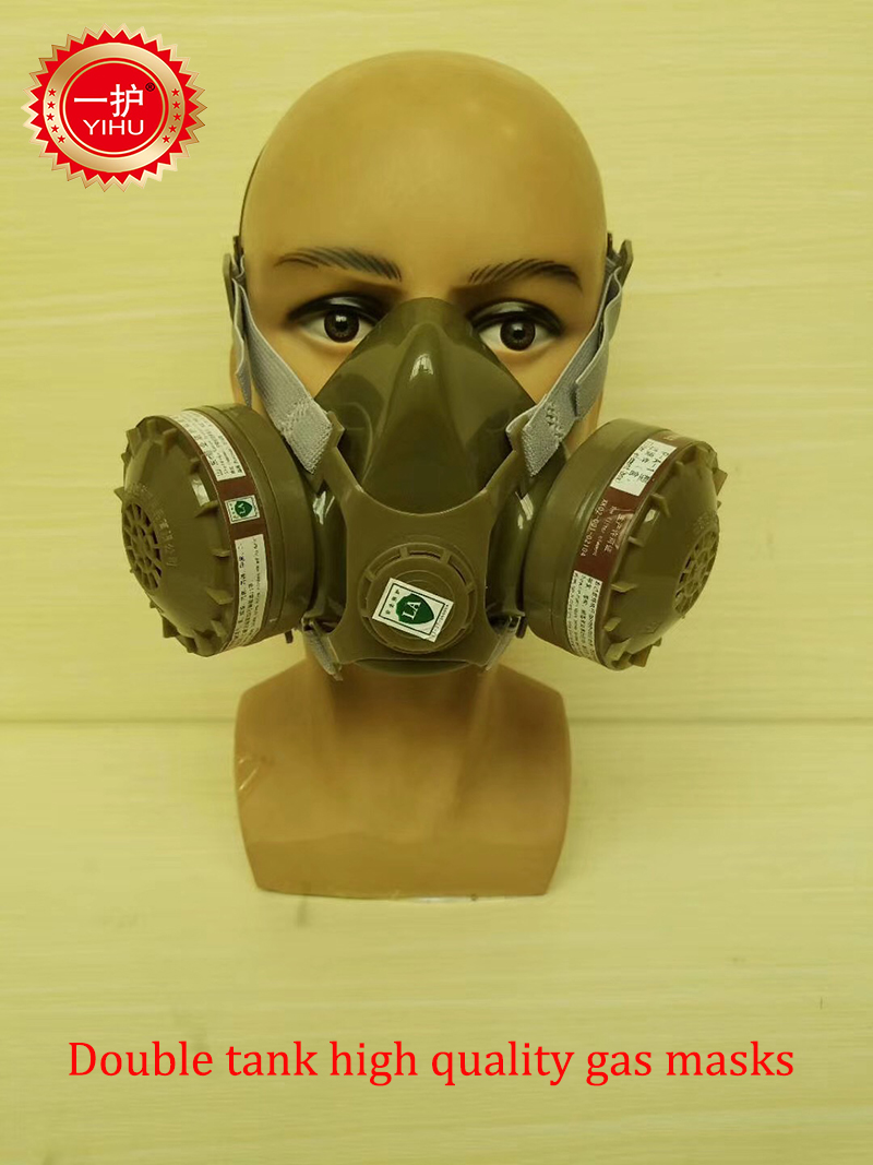 YIHU A-2 respirator gas mask Double cans high quality protective mask against Painting spraying filter mask yihu gas masks protective mask respirator against painting dust storms formaldehyde pesticides spraying mask