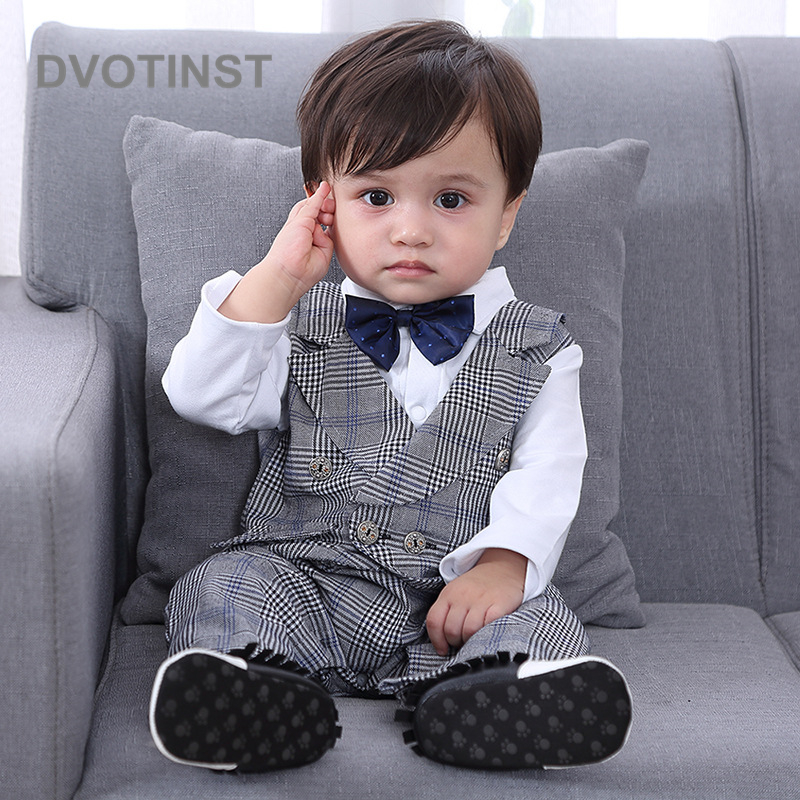 Dvotinst Baby Boy Clothes Full Sleeve Gentleman Gray Stripes Blue Bow Tie Romper Outfit Infant Toddler Wedding Jumpsuit Birthday