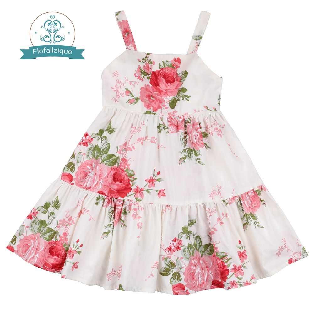 Flofallzique Floral Girls Dress Kids Vintage Floral Wedding Party Toddler Sundress