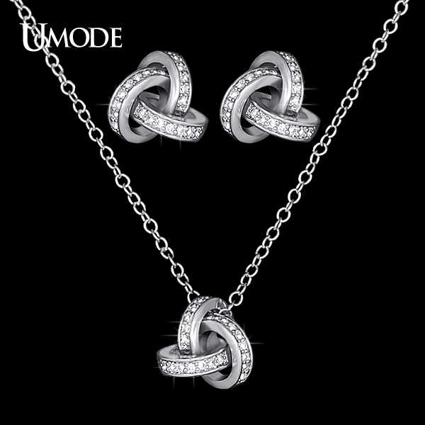 UMODE White Gold Color Cubic Zirconia CZ Accent Inspired Twist Love Knot Stud Earrings and Pendant Necklace Jewelry Set US0031