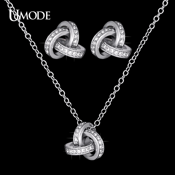 UMODE White Gold Color Cubic Zirconia CZ Accent Inspired Twist Love Knot  Stud Earrings and Pendant