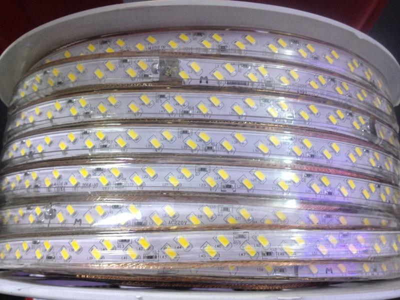 50m/lot 120leds/m ac 110v 220V SMD 5730/5630 LED strip white & warm white led flexible tape light IP67 + free power plug