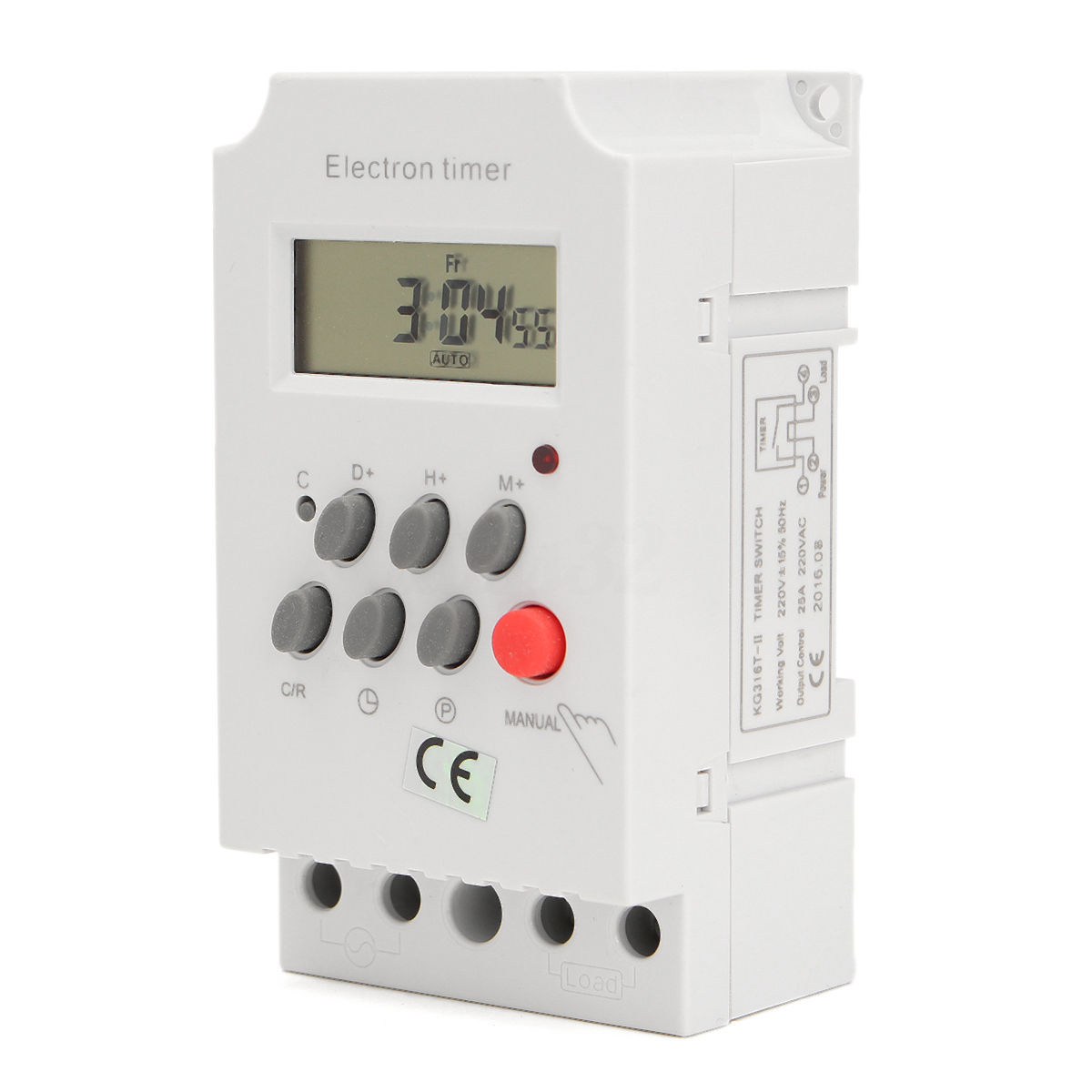 1pc AC 220V 25A KG316T-II Din Rail Digital Programmable Timer Lcd Display Electronic Time Switch 50-60Hz