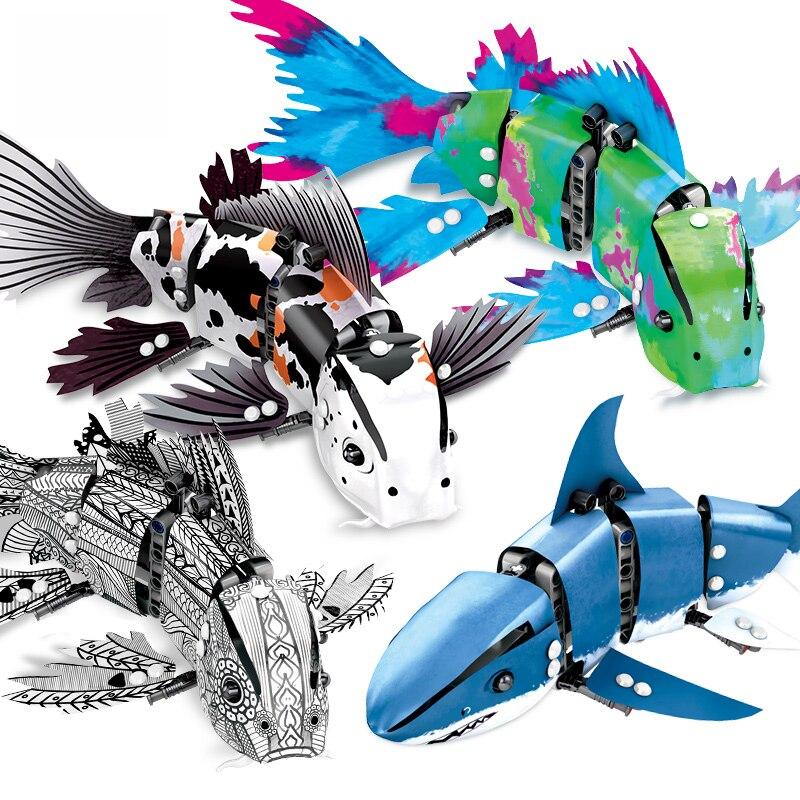 Nouvelle idée technique machine bionique poisson bloc de construction Koi Guppy requin jardin modèle briques à monter soi-même 81000 éducation jouets collection