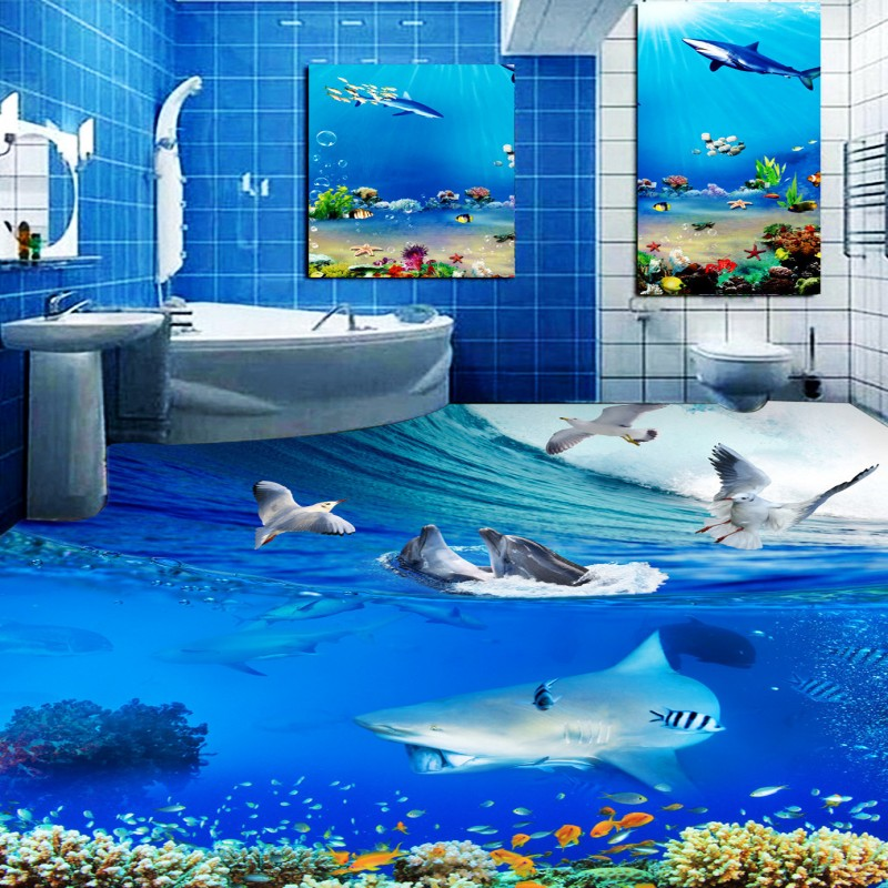 Buy Free Shipping Dolphin Surf Seagull Bathroom Bedroom 3D Floor waterproof living room square kitchen office flooring mural