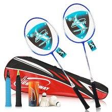 2 шт./лот, парные ракетки для бадминтона из металлического сплава, тренировочный светильник для занятий спортом с сумкой, набор для бадминтона для взрослых