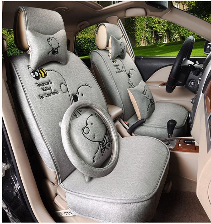 Fashion High Quality Luxury Flax Bear Cute Car Seat Cover Universal Covers Cloth Beauty Cushion In Automobiles From