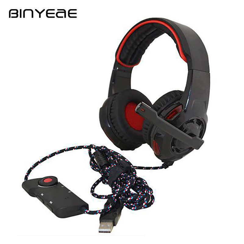 BINYEAE Full-size Headphone Wired Pro Gaming Headset Durable Headphones with Microphone for Computer Gamer Pc Laptop