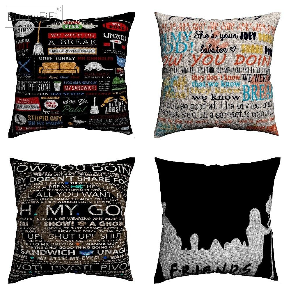 Amigos TV Show Citação Motivação 45x45 centímetros Decorativa Cotton Linen Capa de Almofada Para O Sofá Cadeira Fronha Casa decoração Almofada