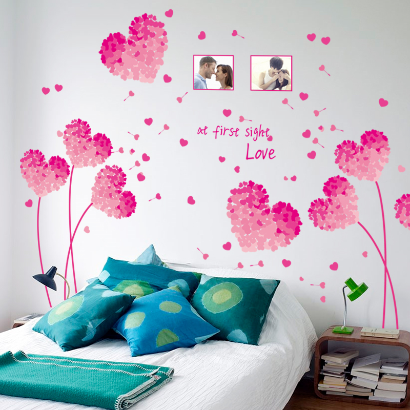 2016 New Heart Flowers Wall stickers for Bedroom Home decor DIY PVC Wallpaper Art Decals Decorative Stickers on the Wall