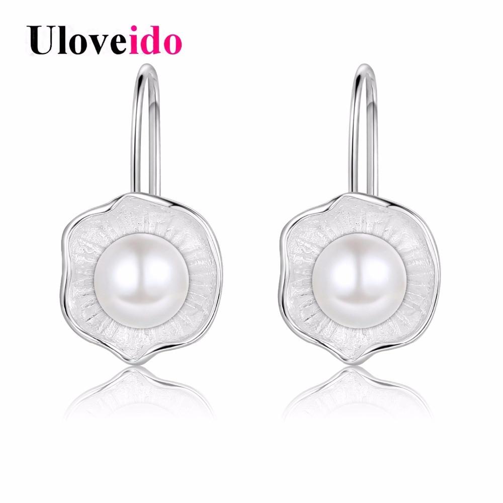 15% Off Uloveido Fashion Flower Simulated Pearl Wedding Earrings Silver Jewelry
