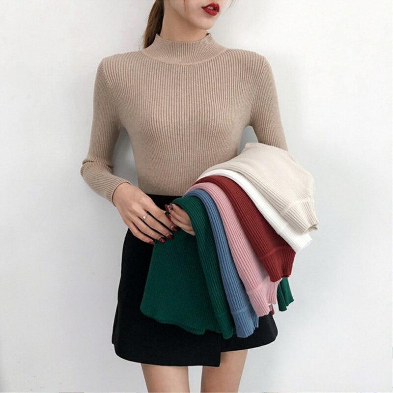 60523df00fc4f83 KISBINI Для женщин свитера эластичная водолазка однотонные вязаные теплый  пуловер универсальная рубашка для зима-осень
