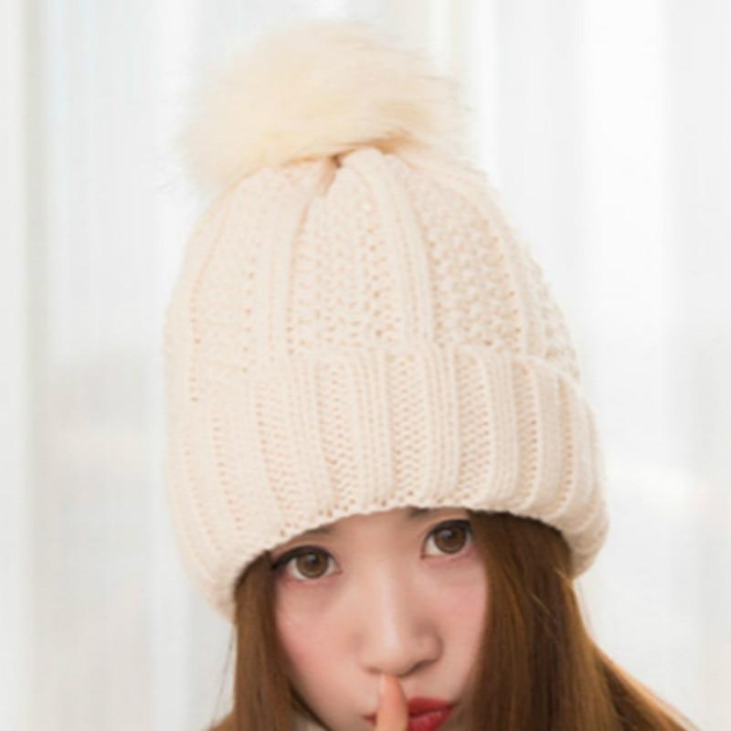 цена на BONJEAN Winter Knitted Cap Crochet Rabbit Fur Pom Balls Warm Beanies Ear Protect Cap Women Hats Ball Knitted Bonnet Skullies