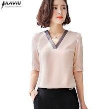 Wysokiej jakości mody kobiet V Neck koszula 2019 nowy połowa rękawem luźna z szyfonu bluzka OL temperament biurowa, damska bluzka w rozmiarze plus size