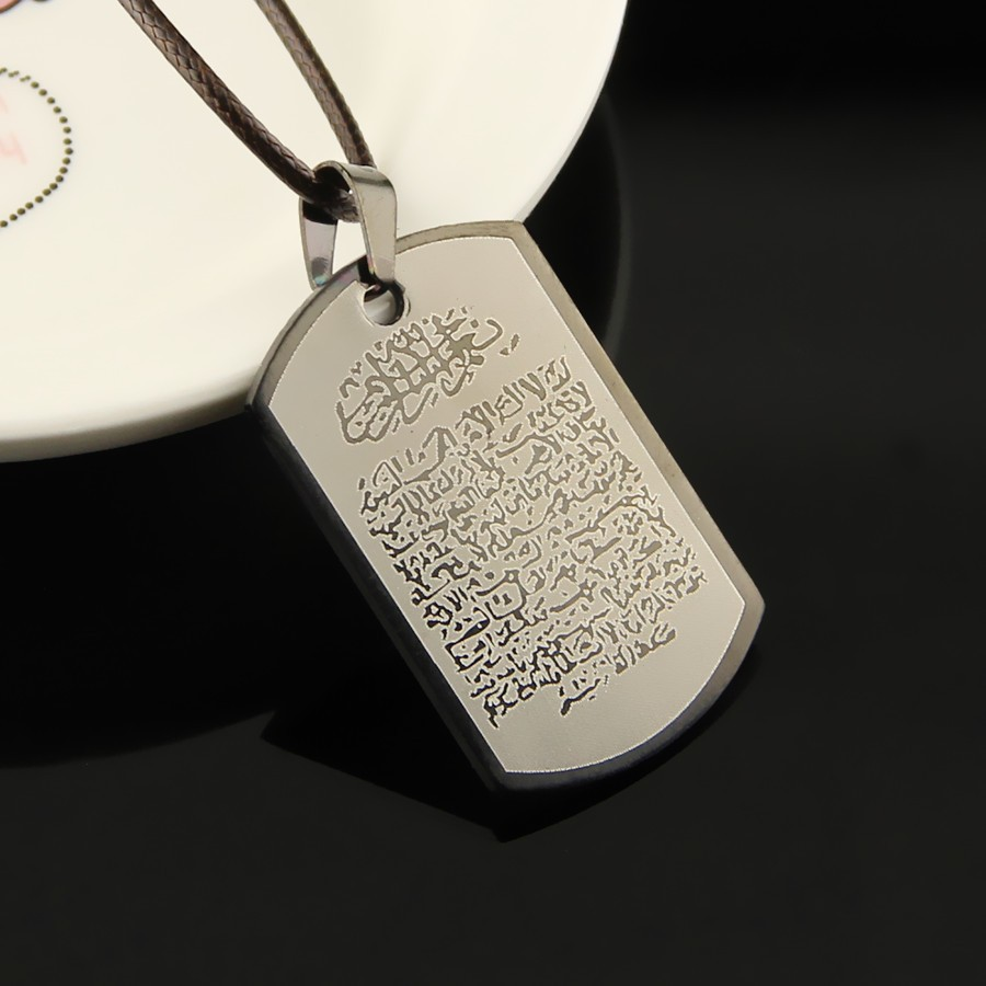 Military  Stainless Steel necklaces Dog Tag Necklace muslim  religious  Charm Pendant Necklace Ball Chain For Men Women