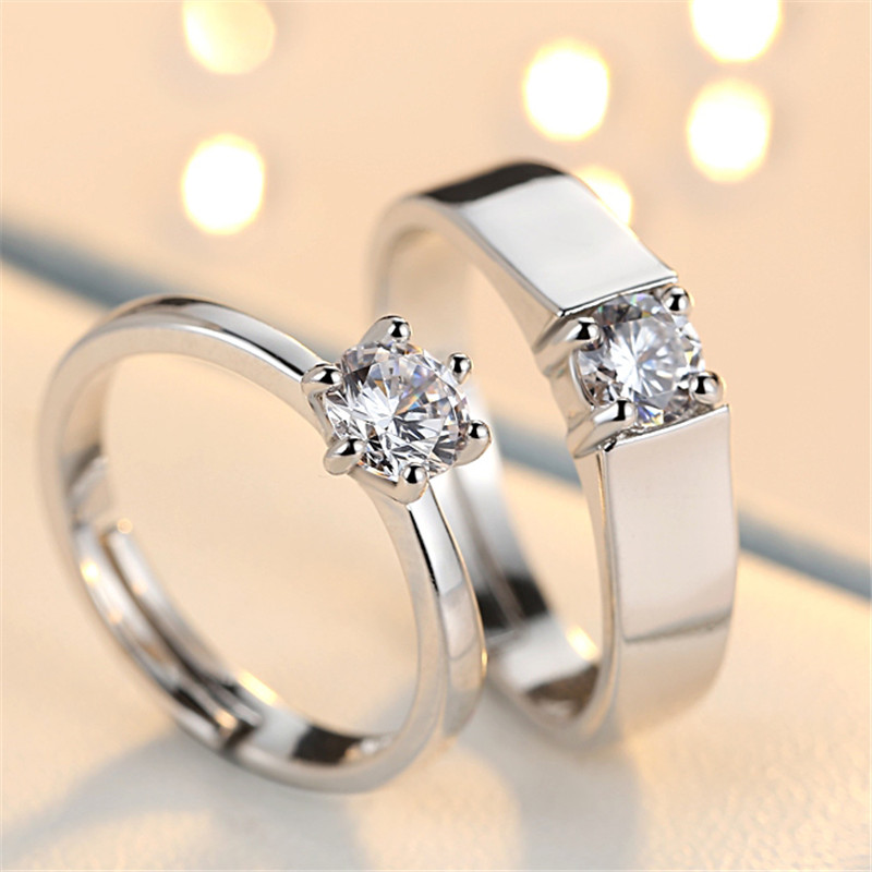 MISANANRYNE New Crystal Jewelry Adjustable Promise Couples Rings Sliver Color Classic Engagement Wedding Rings for Men and Women