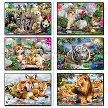 Ofício 5D pintura diamante resina pintura diamante mosaico imagem inteira diamante broca de Diamante bordado do bordado casal gatos(China)