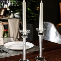High end Transparent Crystal Glass Pole Candle Holder For Wedding Party Candlelight Dinner Decor Home Decoration Gifts(gift box)