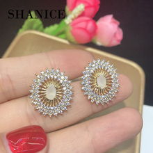 SHANICE Four Color Clear 4A Cubic Zirconia With Natural Stone Oval Stud Earrings Women's Party Fashion Jewelry Cobre CZ Brincos