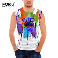 FORUDESIGNS Summer Men Tank Tops Cute Animal Colorful Dogs Printed Sleeveless Fitness Clothes Casual Comfortable Sim