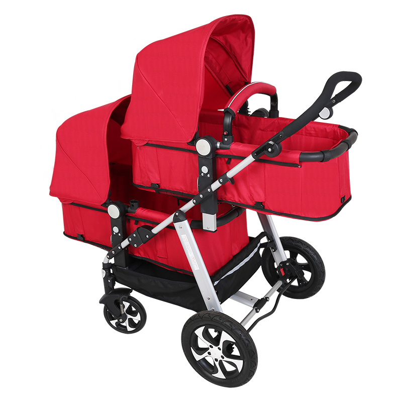 Twin baby car cool version can sit and lying  trolley folding umbrella carts double children's stroller double baby stroller  Lahore
