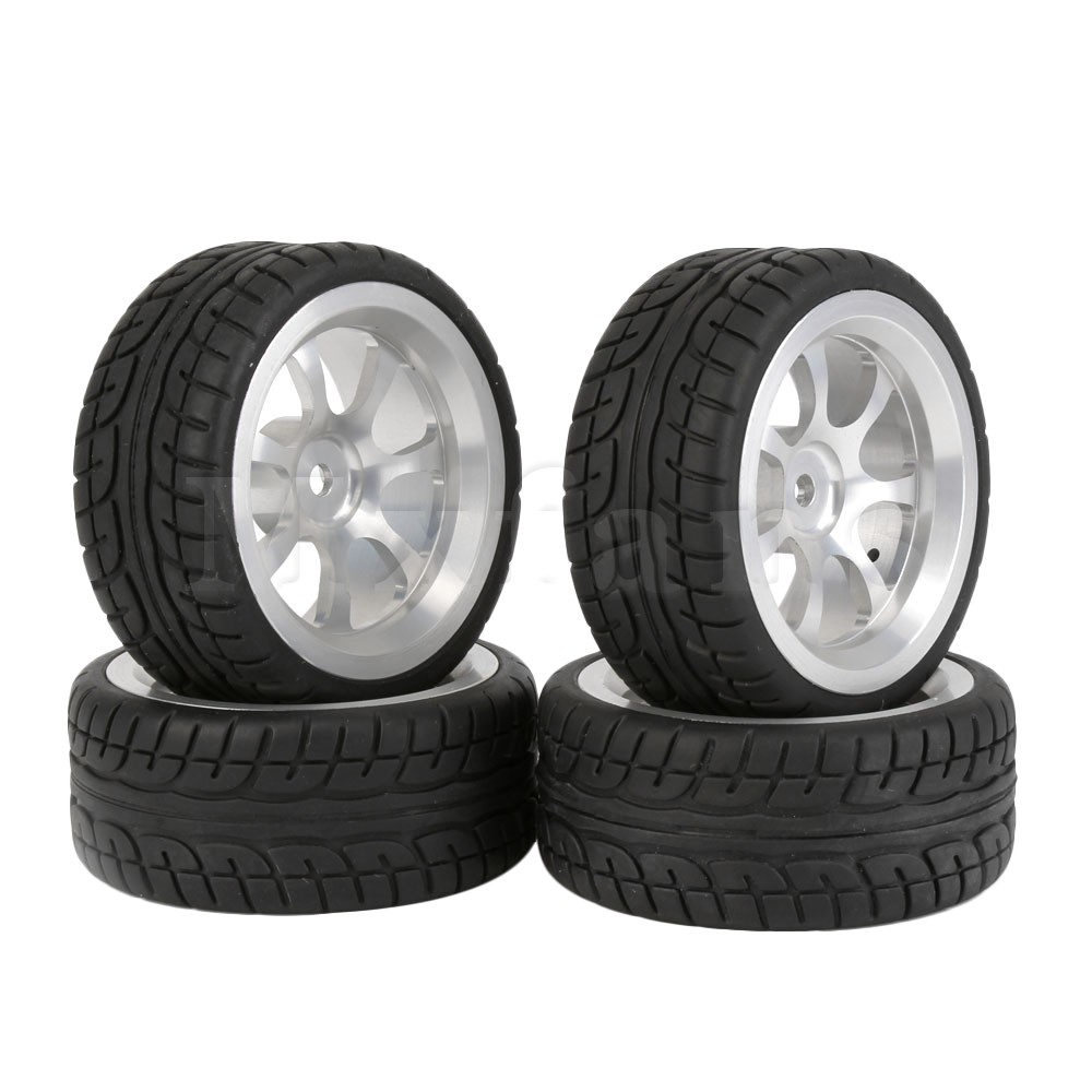 Mxfans 4x 1:10 RC On-Road Car Tires and Aluminum Alloy 7 Spokes Wheel Rim Durable Blue mxfans rc 1 10 2 2 crawler car inflatable tires black alloy beadlock pack of 4