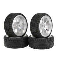 Mxfans 4x 1:10 RC On-Road Car Tires and Aluminum Alloy 7 Spokes Wheel Rim Durable Blue