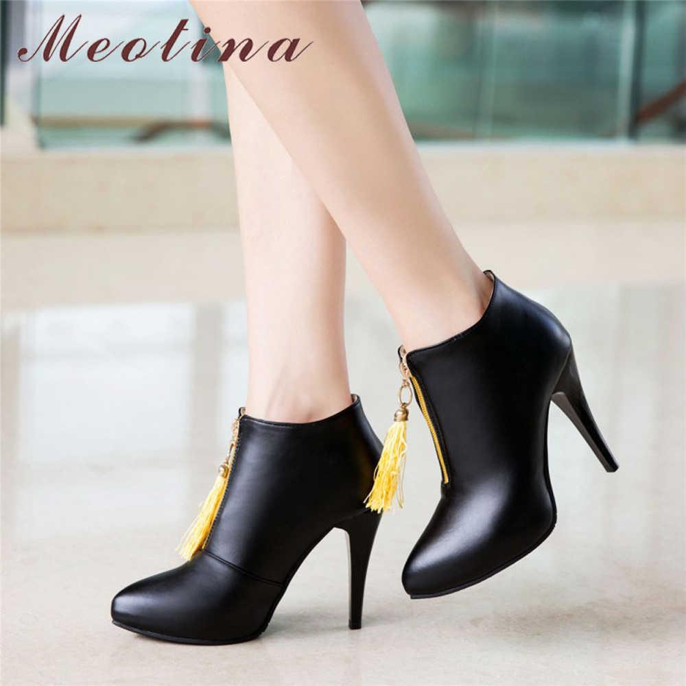 Meotina/женские ботильоны на платформе и высоком каблуке; ботинки с бахромой; сезон весна; пикантная обувь с острым носком; 2018 женские ботинки; большие размеры 46; желтый цвет