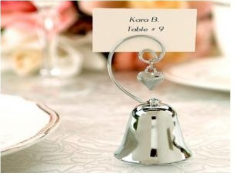 Wedding Decorations Party Favor Kissing Bell Place Name Table Card Holder With Dangling Heart