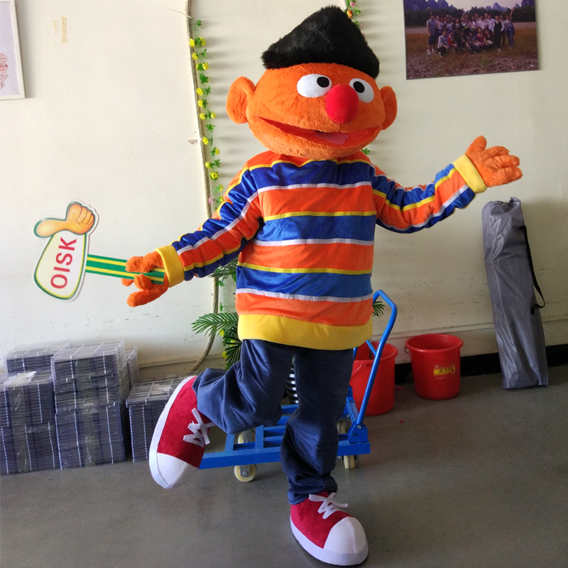 ohlees actual bert sesame street boy mascot costume for adult halloween costume cartoon school character outfit party adult in mascot from novelty