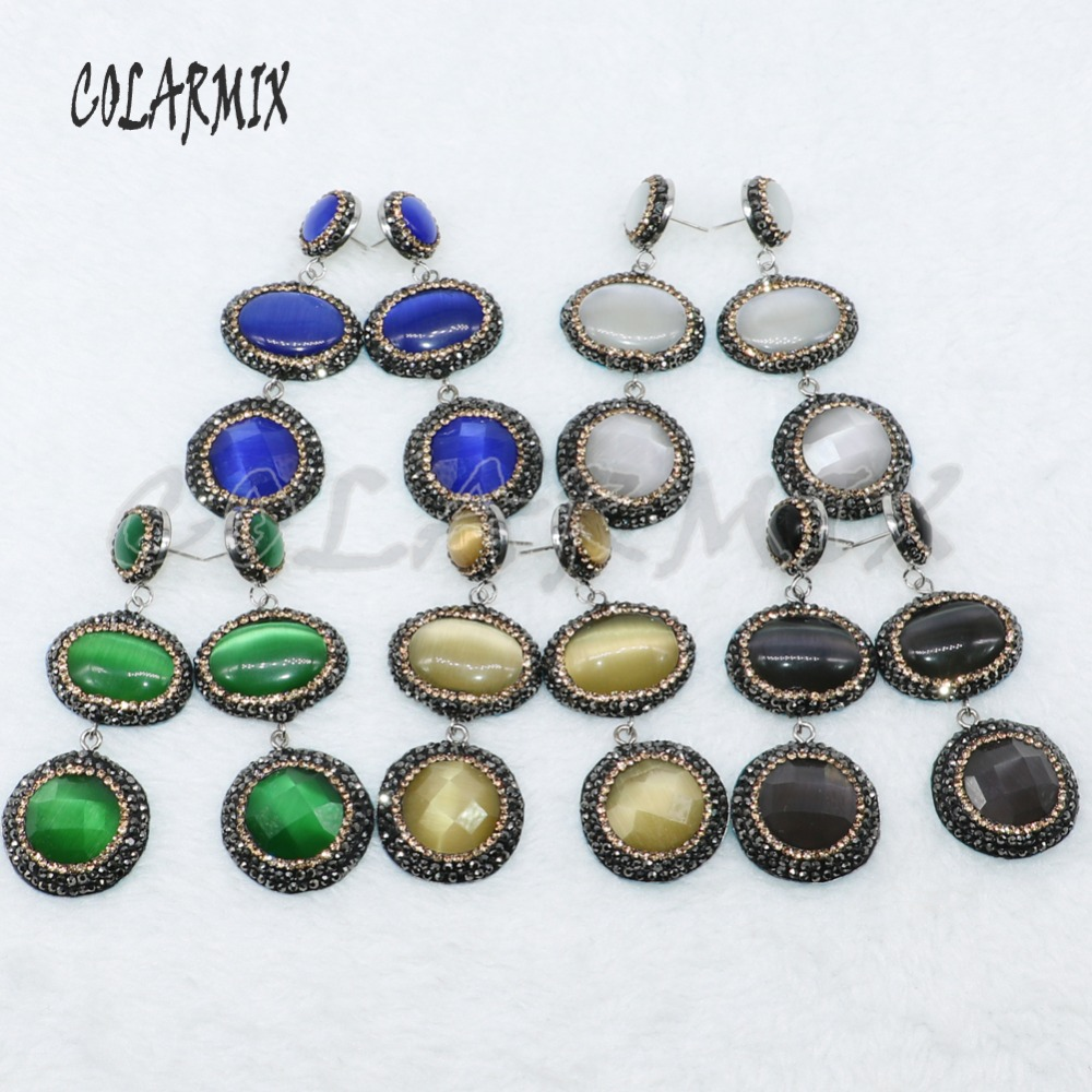 Natural round cat eyes stone earrings pave rhinestone Mix color stone earring Wholesale jewelry  earrings  gift for lady 4887
