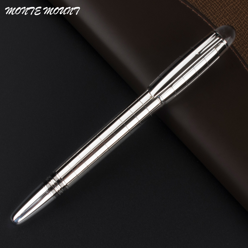 Luxury Silver MONTE MOUNT Roller Ball Pen Stationery office supplies Metal writing pens with crystal top jinhao rare golden double dragon pattern roller ball pen luxury stationery school office supplies brand writing gift pens