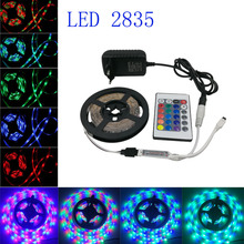 RGB 5m 12V 2835 led strip NON Waterproof led light diodes Flexible  light strip lighting without remote control DC12V 2A adapter